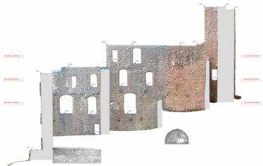 2D-Plan-Orthofoto-Punktwolke-Fassadenansicht-Fassadenplan-Strichzeichnung-3D-Denkmal-Vermessung-per-Drohne-Laserscanning-Denkmalschutz-Burg-Freienstein-1