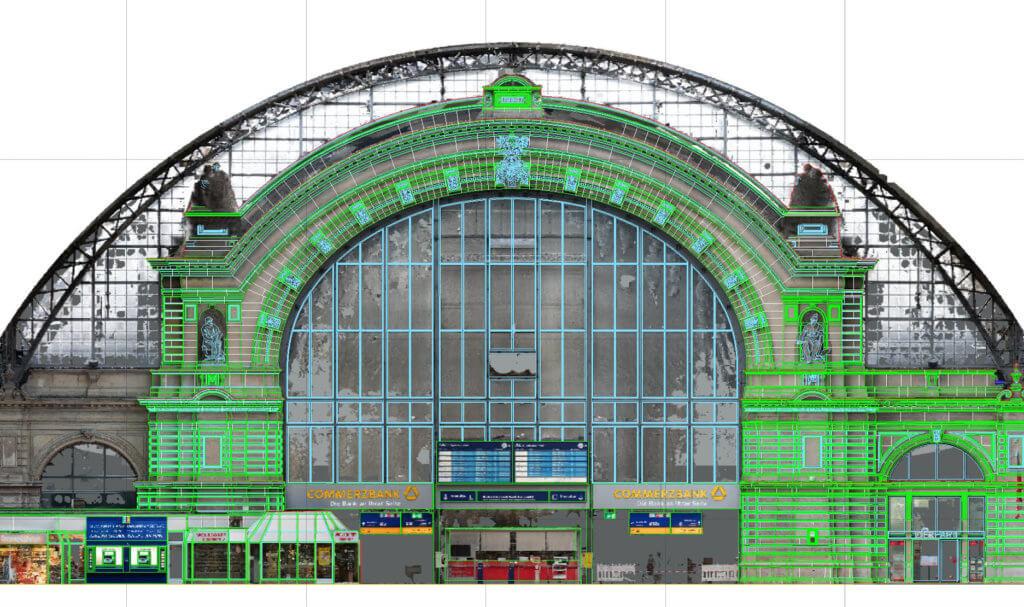 Hauptbahnhof-Frankfurt-am-Main-Fassadenplan-mit-Orthofoto-Vermessung-Inspektion-per-Drohne