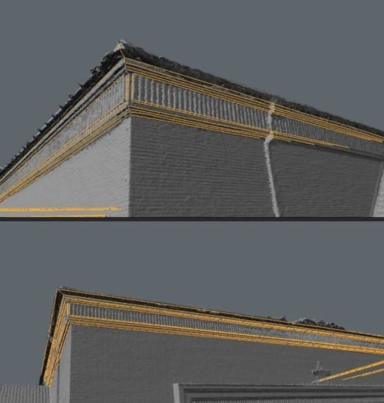 Roof-Retopology-Reprojection-Mesh-Bearbeitung-Mesh-Cleanup-Mesh-Decimation-VR-Scan-vr-scans-3d-scans-3D-Modeling-für-Virtual-Reality-VR-VFX-und-Gaming