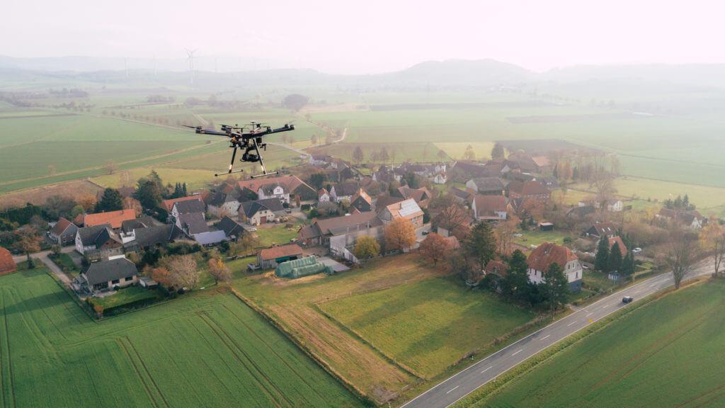 Kartierung mittels Drohne für den Breitbandausbau in Niedersachsen