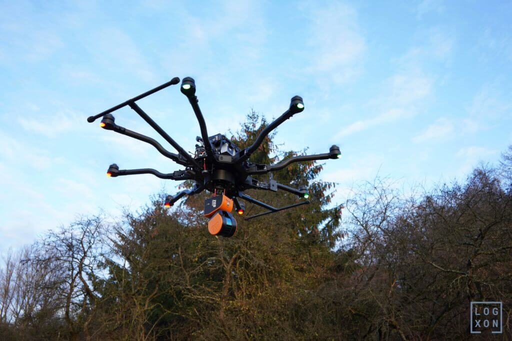 Erster Testflug in Europa: GeoSLAM ZEB-HORIZON 3D mobile Scanner an LOGXON Drohne