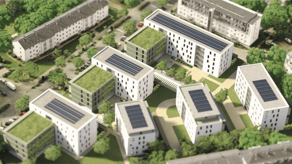 3D Architektur Visualisierung: Außenrenderings der Postsiedlung Darmstadt aus Bestands- und CAD Modell