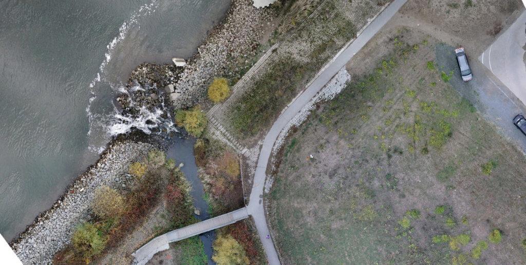 Klassische und photogrammetrische Vermessung: Bestandsplanerstellung der Winkelbachmündung in Gernsheim am Rhein