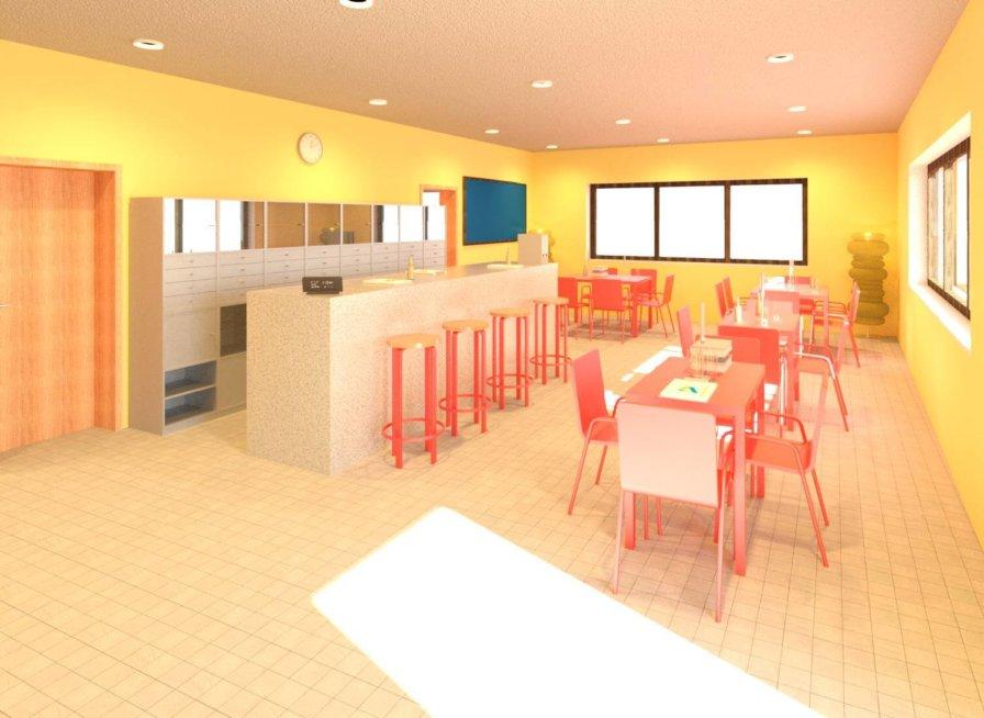 Bistro-Tennishalle-Rendering-texturiertes-3D-Modell-nach-Modellierung-der-3D-Punktwolke-3D-Modellierung