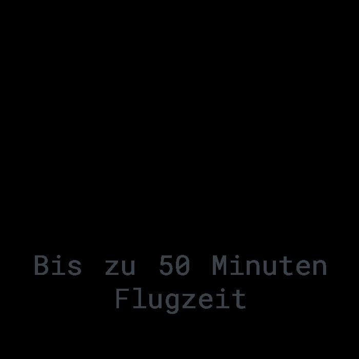 LOGXON-Icon-Text-Flugzeit-Uhr-50-Minuten-Flugzeit