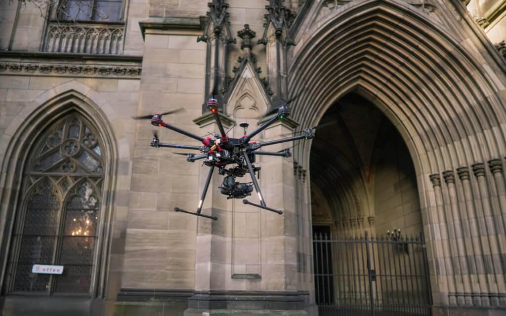 3D Denkmalvermessung mittels Drohne: Gebäudeaufnahme der Elisabethenkirche in Basel zur Restaurierung
