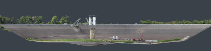 Flächenvermessung-per-Drohne-Punktwolke-Staubecken-Wasserkraftwerk-Baustelle-Eggbergbecken-3DModell
