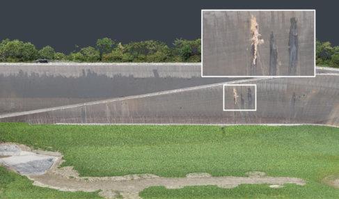 Flächenvermessung-per-Drohne-Wasserkraftwerk-Sanierung-Eggbergbecken-Detail-Ausbesserung