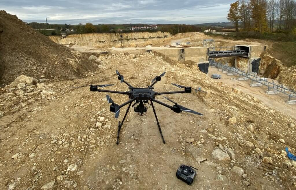 Förderband-Bandumledung-Digitales-3D-Aufmaß-per-Drohne-Steinbruch-Vermessung-Foerderband-Aushub