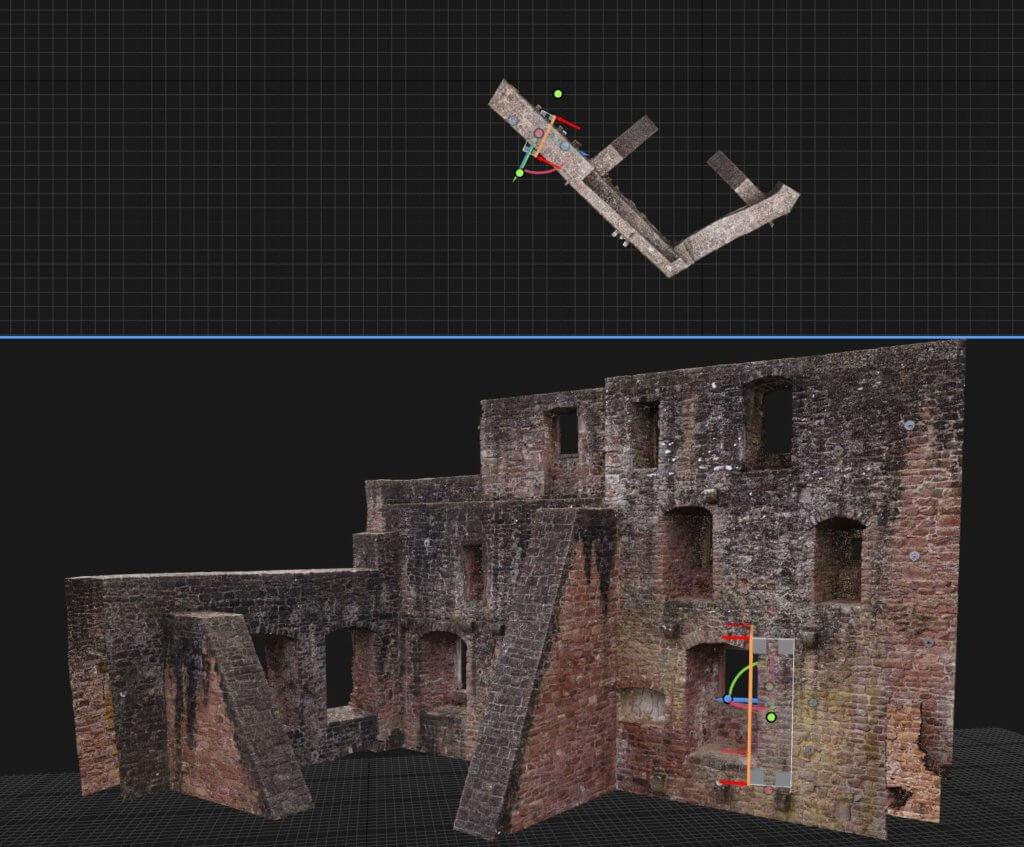 3D-Vermessung-Burg-per-Drohne-Reality-Capture-Screenshot-Fensterlaibung-Burg-Punktwolke-3D-Meshmodell-Fassadenansicht-Fassadenplan-3D-Modell