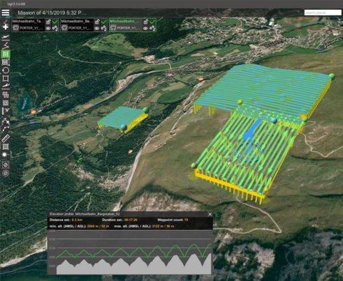 Screenshots-Flumissionen-UgCS-Pro-Grundstation-Pro-Missionsplanung-Flugmission-GPS-Steuerung-Drohnenaufnahmen--digitales-Gelaendemodell-Milchseilbahn-Fidaz-Flims-Schweiz