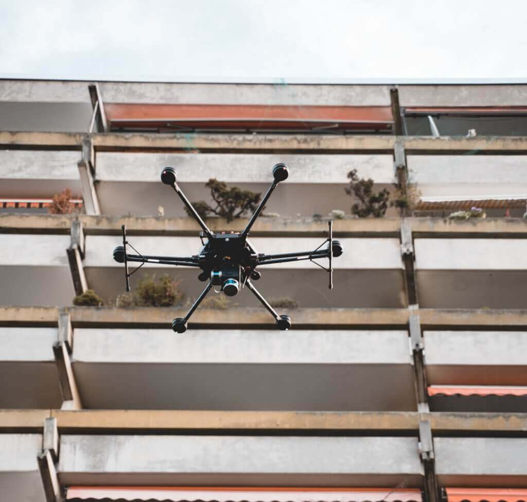 3D Fassadenvermessung mittels LiDAR Scanner Drohne in Frankfurt