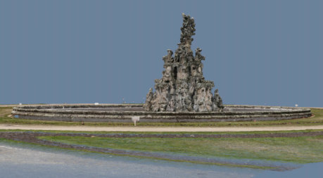 3D-Punktwolke-Hugenottenbrunnen-Erlangen-Texturiertes-Mesh-VR-Modell-3D-Vermessung-Denkmalschutz-Drohne-terrestrischer-Photogrammetrie