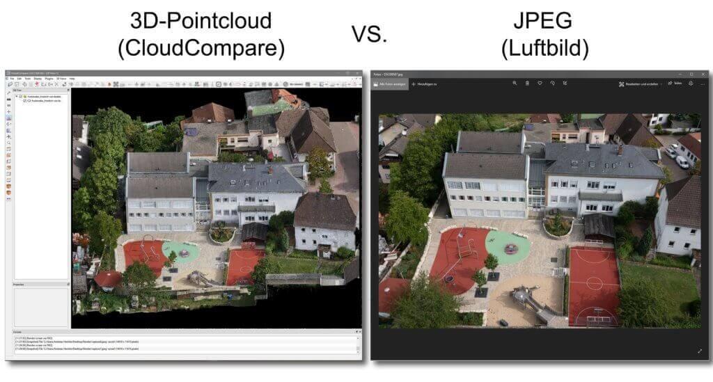 Vergleich-3D-Punktwolke-RGB-JPEG-Luftbild-Texturierte-Punktwolke-Photogrammetrie-Drohne-Ergebnisse-Drohnen-Einsatz-3D-Aufnahmen-zur-Vermessung-Schule-Rodgau