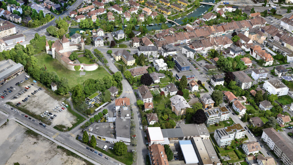 nahaufnahme-foto-details-häuser-park-burg-3D-visualisierung-3d-rendering-cgi-mesh-modell-biehl-schweiz-drohne-scan-4