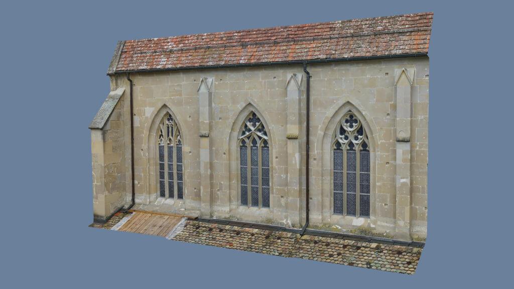 Rendering-Punktwolke-Photogrammetrie-Drohne-Fassadenvermessung-UAV-Vermessung-Kirchenfassade-Fassadenvermessung-Schadenskartierung-Denkmalschutz